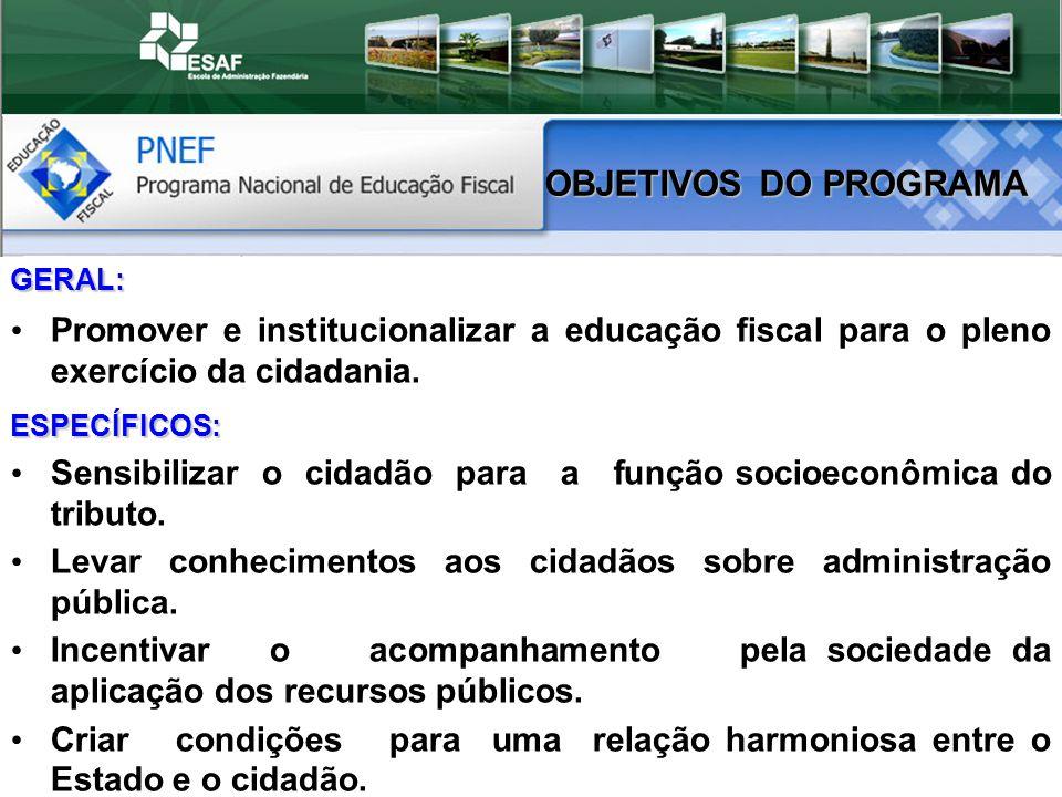 OBJETIVOS DO PROGRAMA GERAL: Promover e institucionalizar a educação fiscal para o pleno exercício da cidadania.