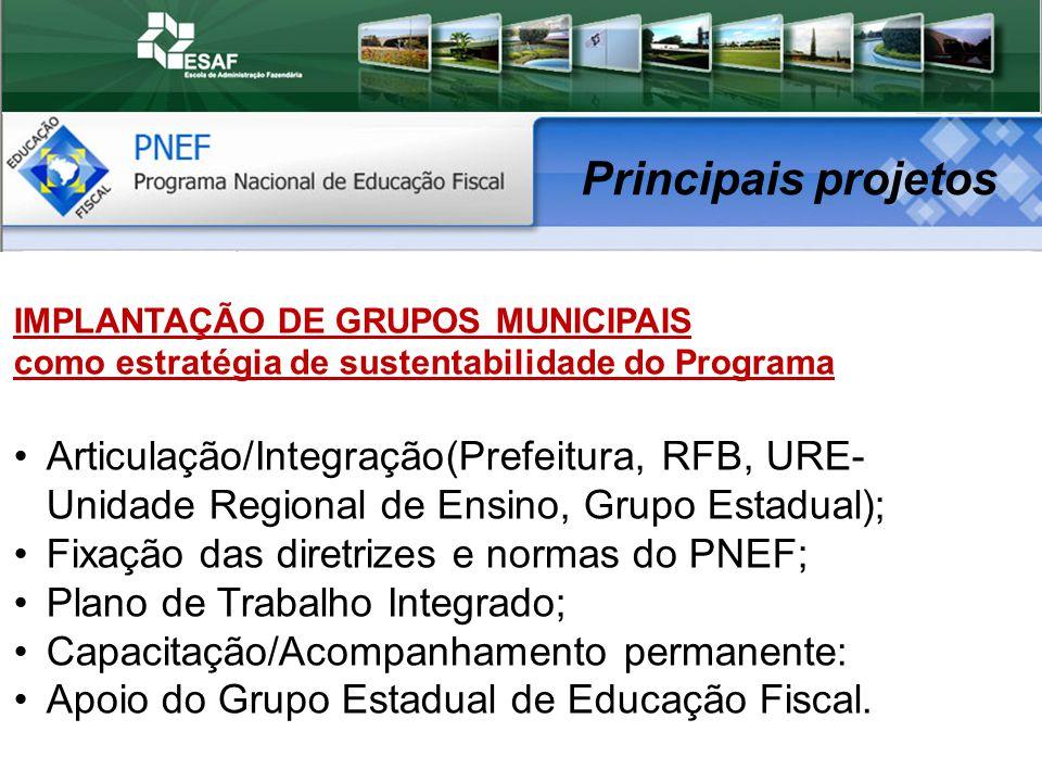 Principais projetos IMPLANTAÇÃO DE GRUPOS MUNICIPAIS como estratégia de sustentabilidade do Programa.