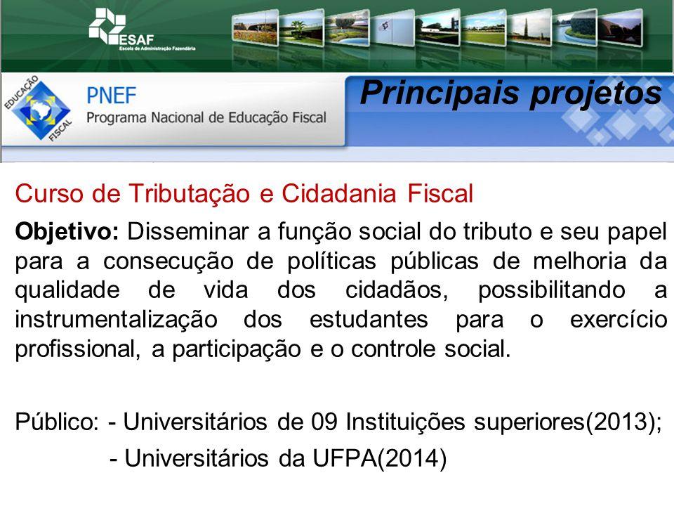 Principais projetos Curso de Tributação e Cidadania Fiscal
