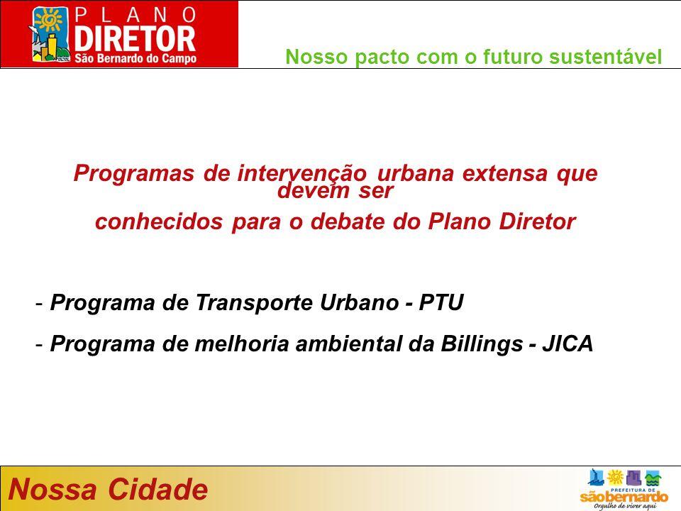 Nossa Cidade Programas de intervenção urbana extensa que devem ser