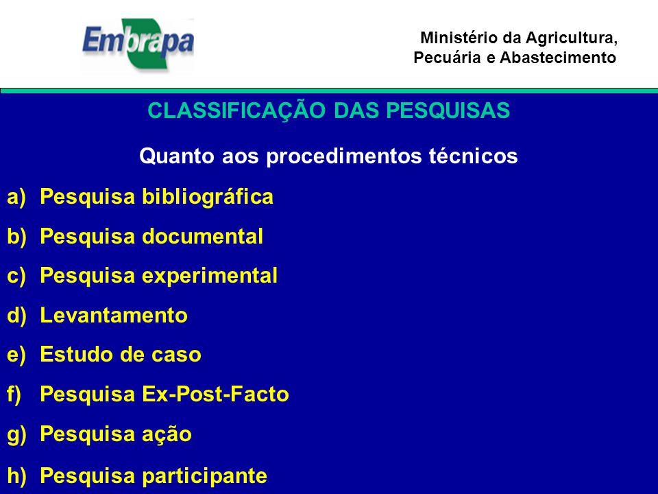 CLASSIFICAÇÃO DAS PESQUISAS Quanto aos procedimentos técnicos
