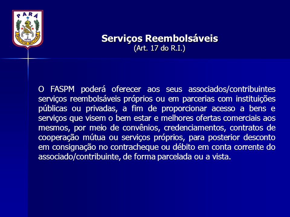 Serviços Reembolsáveis (Art. 17 do R.I.)