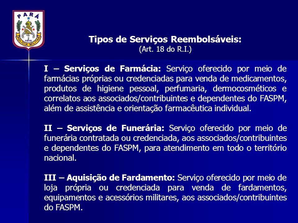 Tipos de Serviços Reembolsáveis: