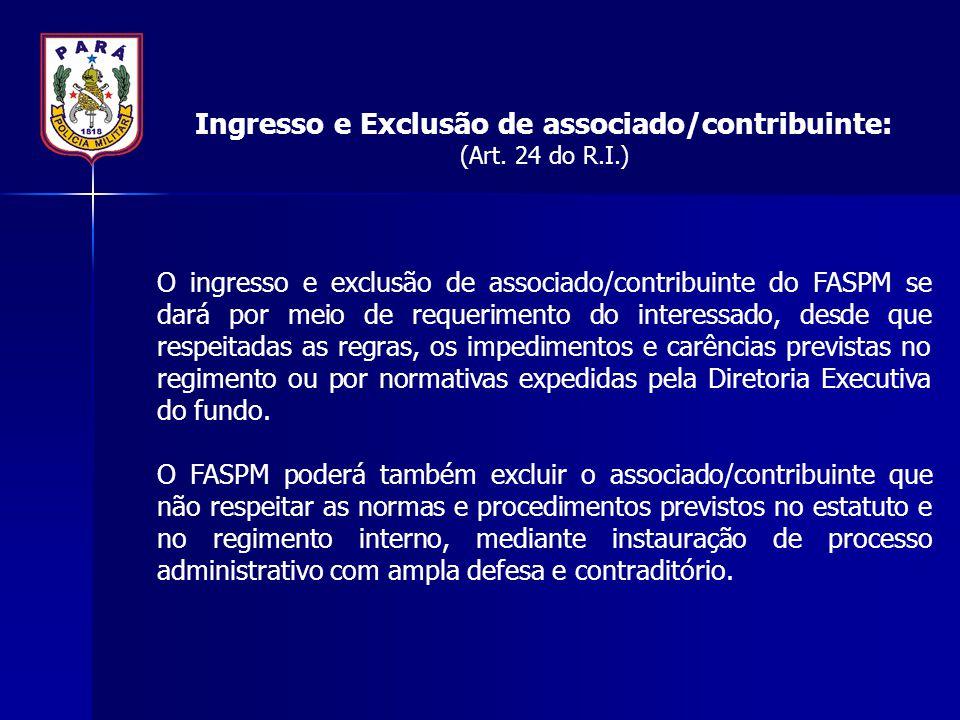 Ingresso e Exclusão de associado/contribuinte: