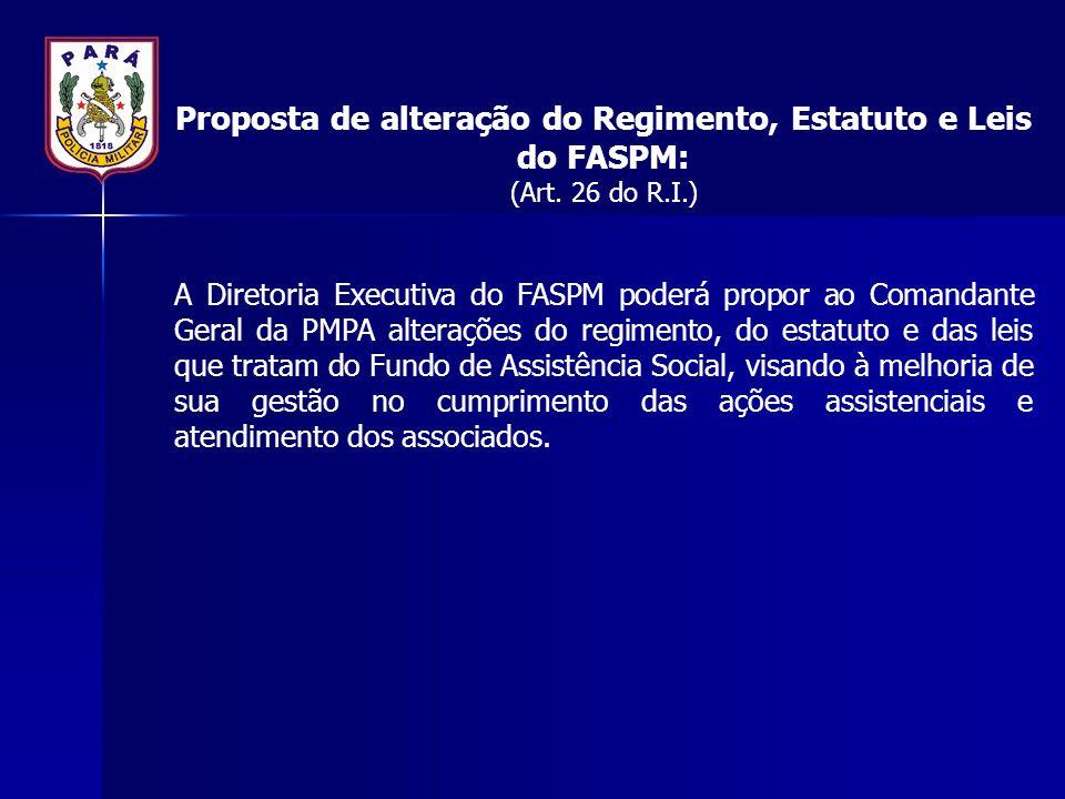 Proposta de alteração do Regimento, Estatuto e Leis do FASPM: