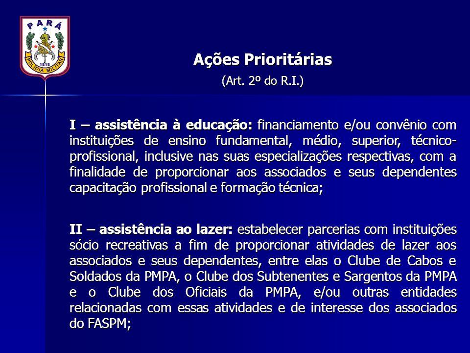 Ações Prioritárias (Art. 2º do R.I.)