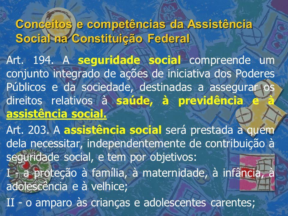 Conceitos e competências da Assistência Social na Constituição Federal