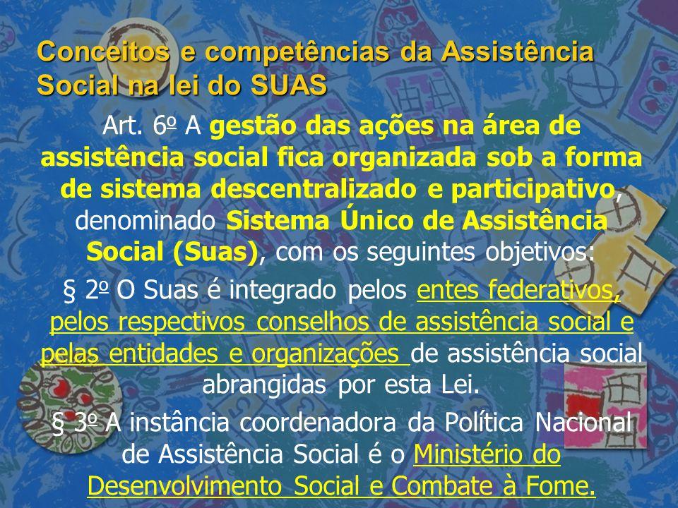 Conceitos e competências da Assistência Social na lei do SUAS