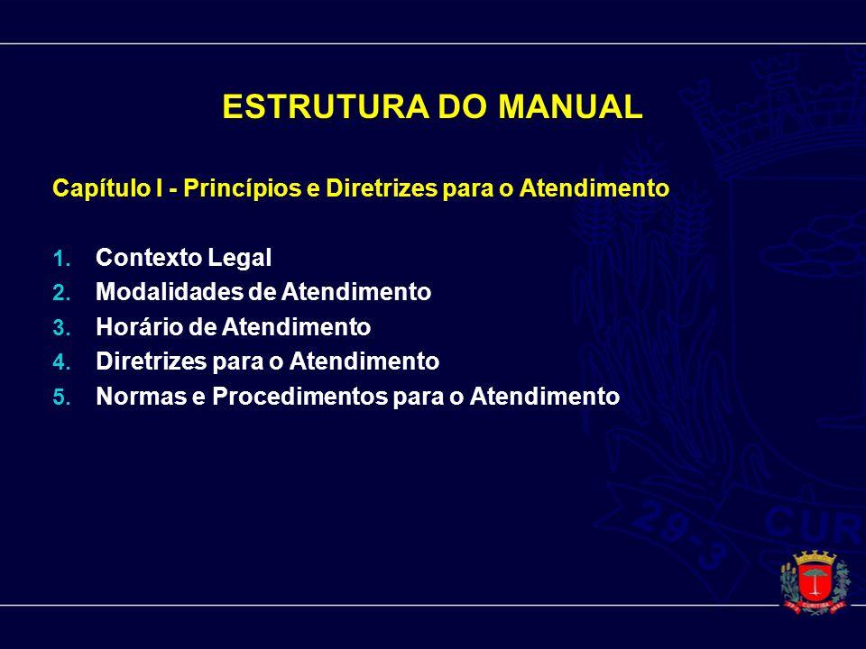 ESTRUTURA DO MANUAL Capítulo I - Princípios e Diretrizes para o Atendimento. Contexto Legal. Modalidades de Atendimento.