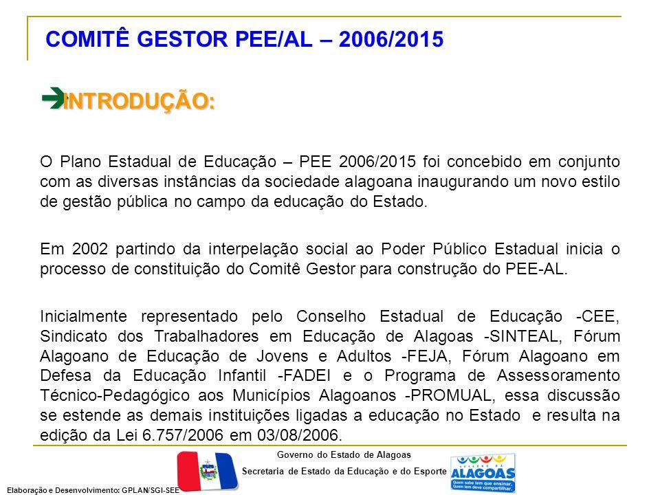 INTRODUÇÃO: COMITÊ GESTOR PEE/AL – 2006/2015