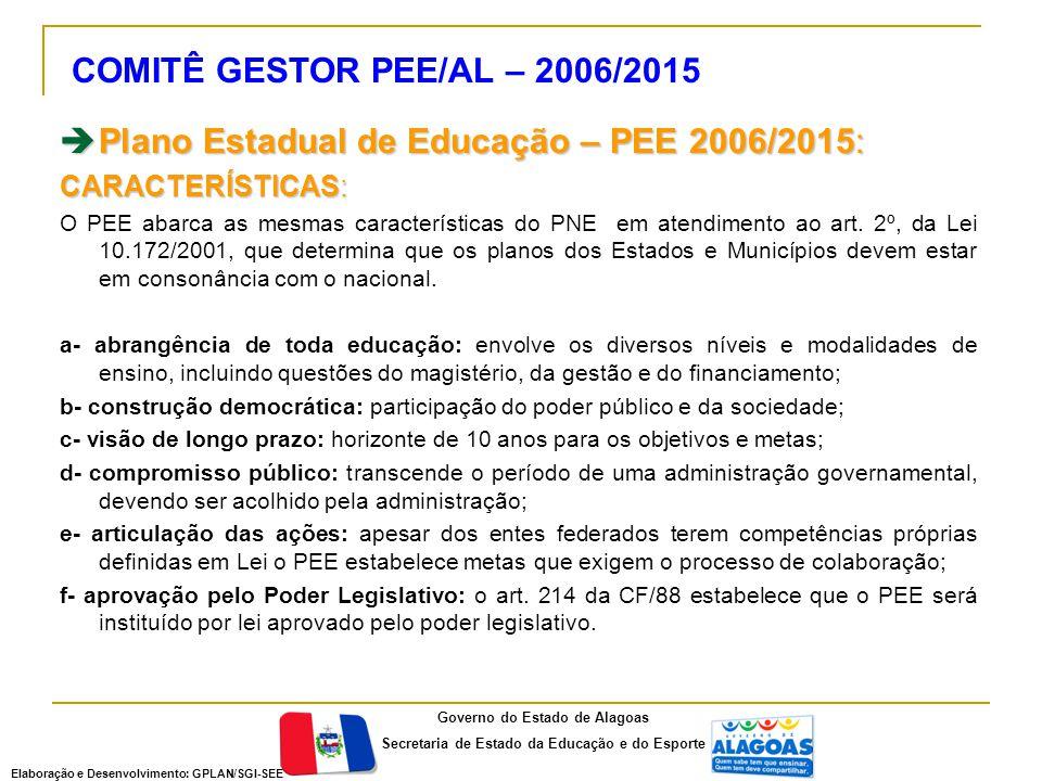 COMITÊ GESTOR PEE/AL – 2006/2015