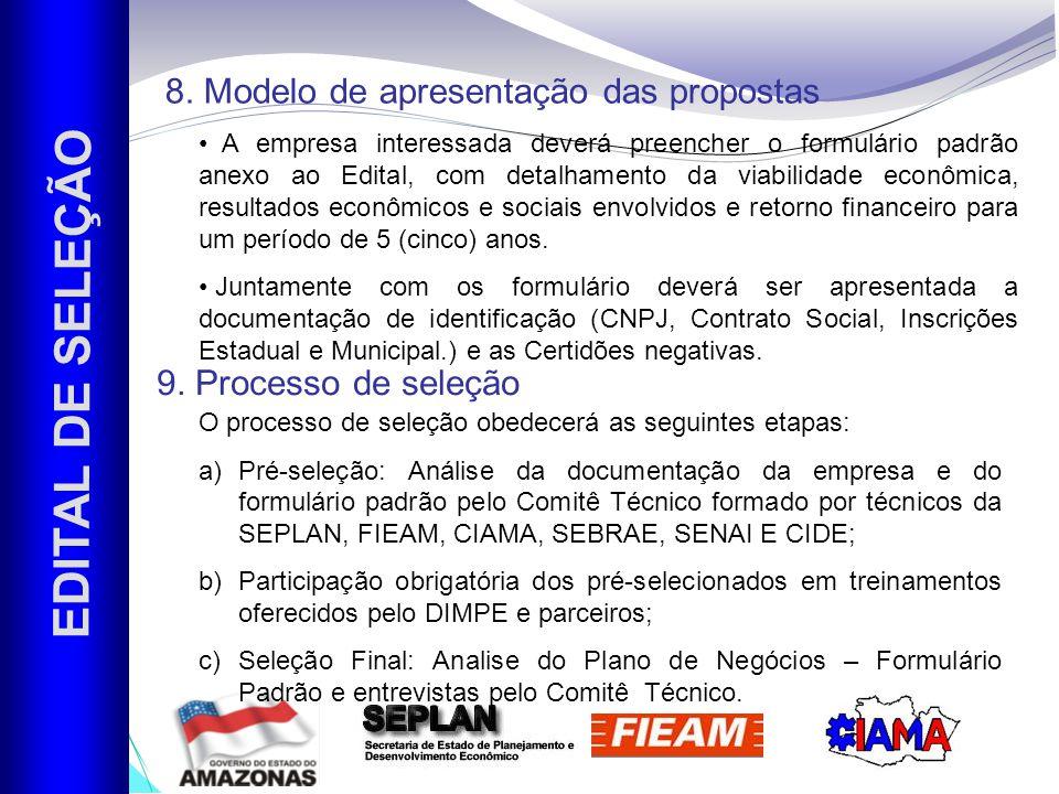 EDITAL DE SELEÇÃO 8. Modelo de apresentação das propostas