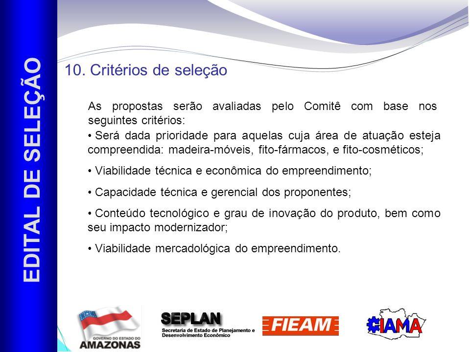 EDITAL DE SELEÇÃO 10. Critérios de seleção
