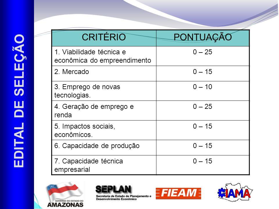 EDITAL DE SELEÇÃO CRITÉRIO PONTUAÇÃO