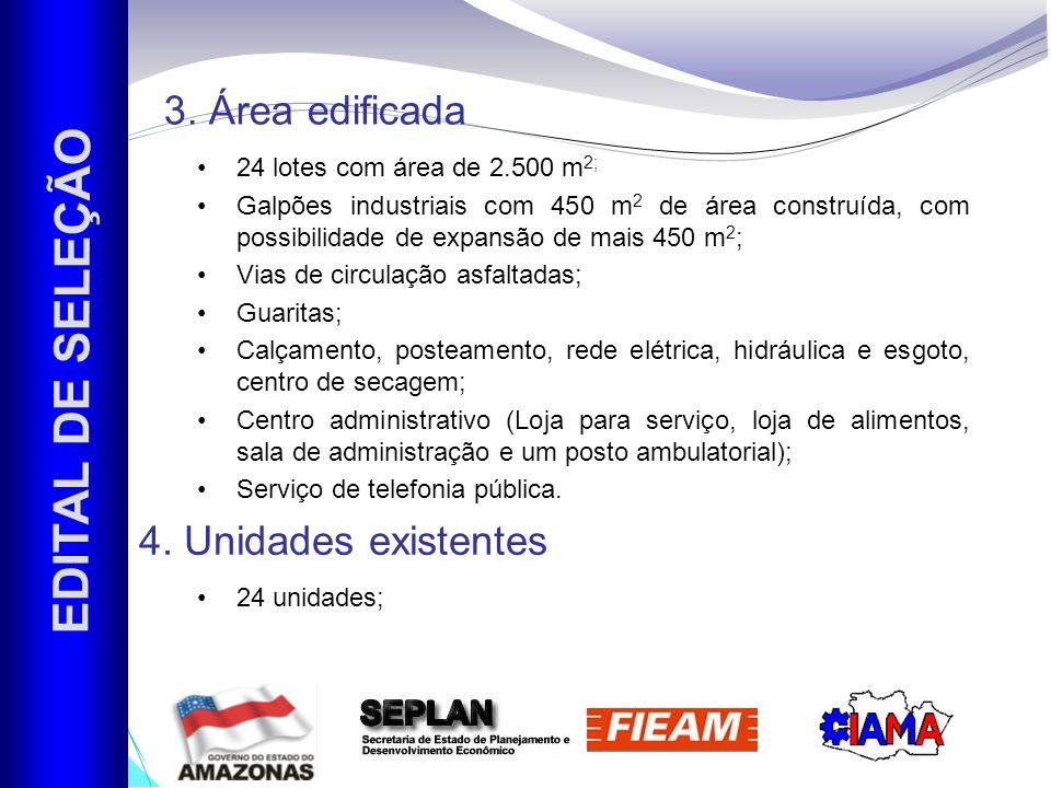 EDITAL DE SELEÇÃO 3. Área edificada 4. Unidades existentes