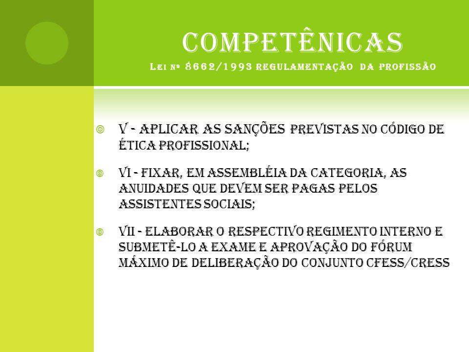 COMPETÊNICAS Lei nº 8662/1993 regulamentação da profissão