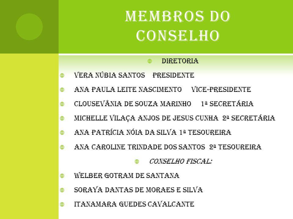 MEMBROS DO CONSELHO DIRETORIA VERA NÚBIA SANTOS PRESIDENTE