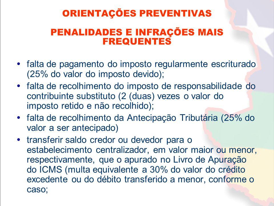 ORIENTAÇÕES PREVENTIVAS PENALIDADES E INFRAÇÕES MAIS FREQUENTES