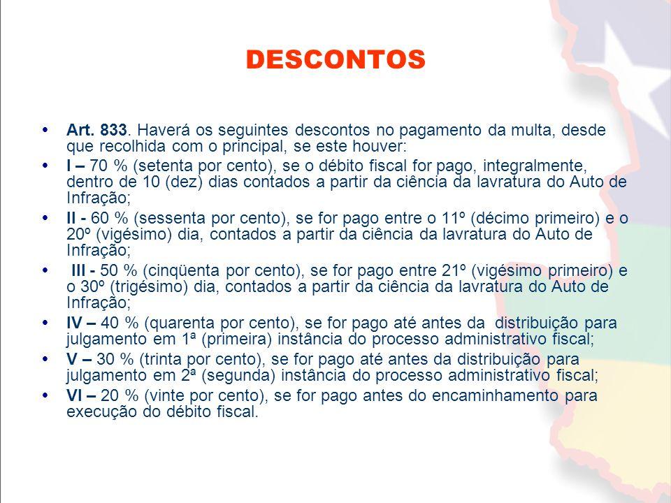 DESCONTOS Art. 833. Haverá os seguintes descontos no pagamento da multa, desde que recolhida com o principal, se este houver: