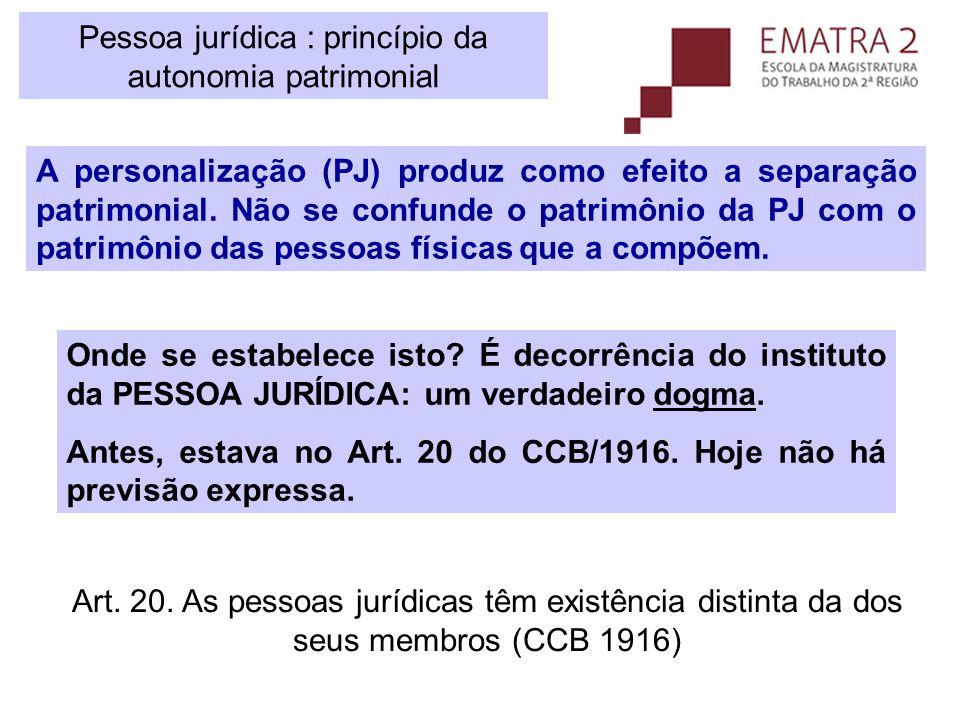 Pessoa jurídica : princípio da autonomia patrimonial