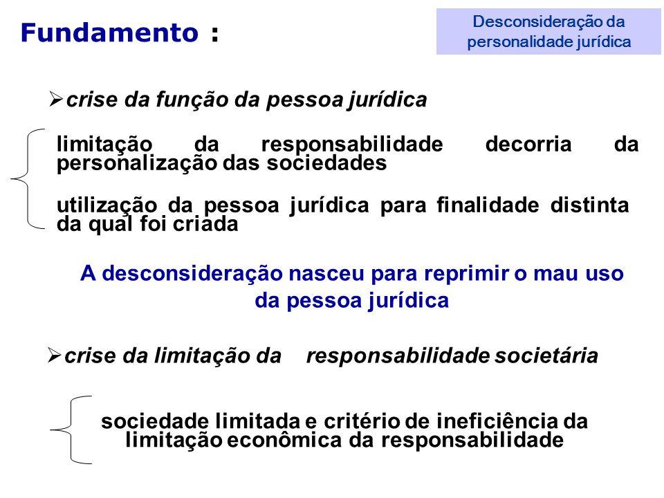 Fundamento : crise da função da pessoa jurídica