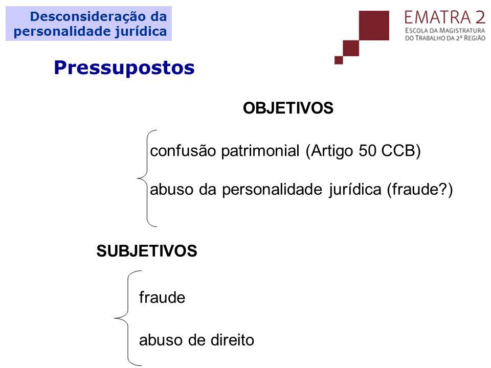 Pressupostos OBJETIVOS confusão patrimonial (Artigo 50 CCB)