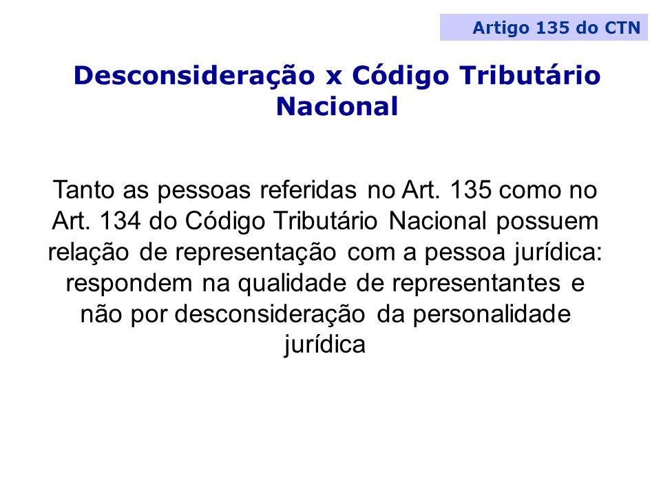 Desconsideração x Código Tributário Nacional