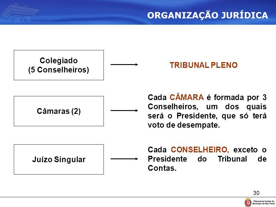 ORGANIZAÇÃO JURÍDICA Colegiado TRIBUNAL PLENO (5 Conselheiros)