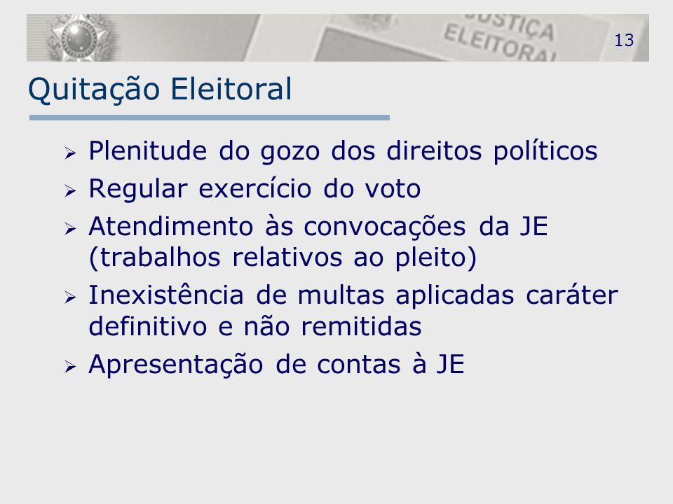 Quitação Eleitoral Plenitude do gozo dos direitos políticos