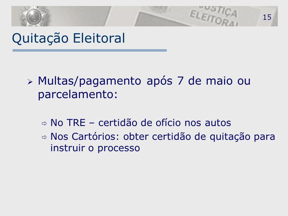 Quitação Eleitoral Multas/pagamento após 7 de maio ou parcelamento: