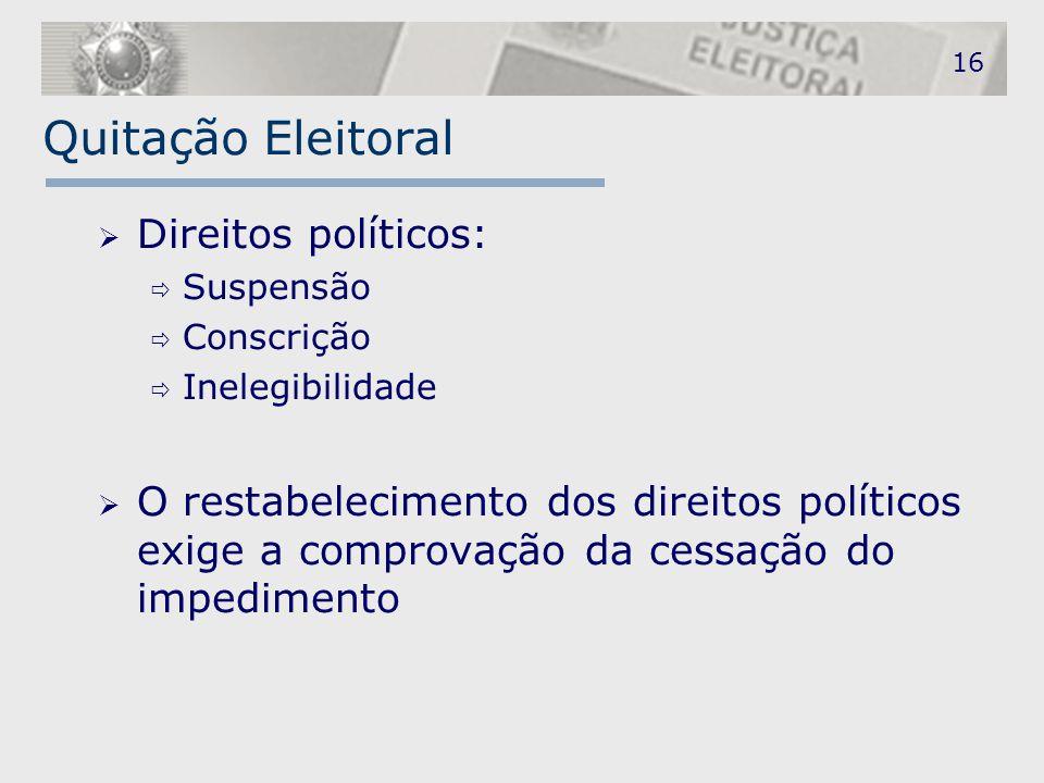 Quitação Eleitoral Direitos políticos: