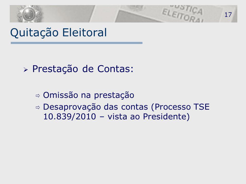 Quitação Eleitoral Prestação de Contas: Omissão na prestação