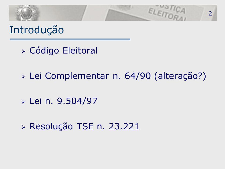 Introdução Código Eleitoral Lei Complementar n. 64/90 (alteração )