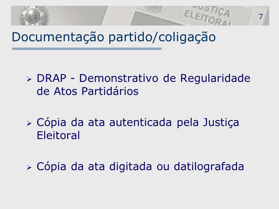 Documentação partido/coligação
