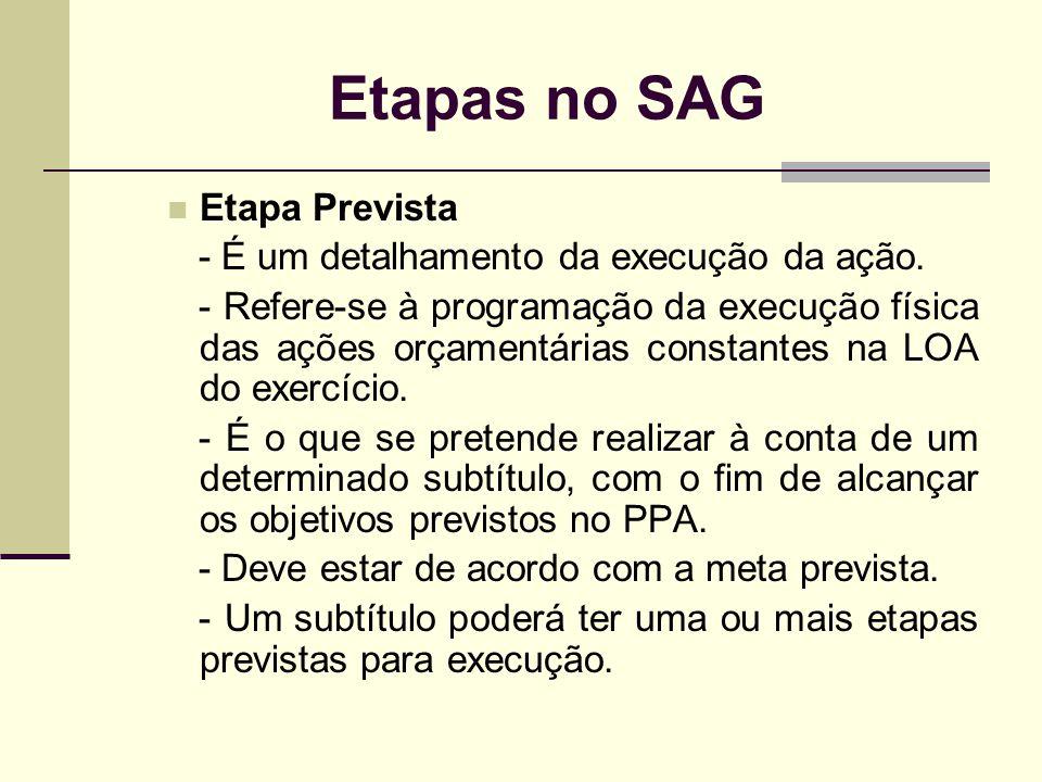 Etapas no SAG Etapa Prevista - É um detalhamento da execução da ação.