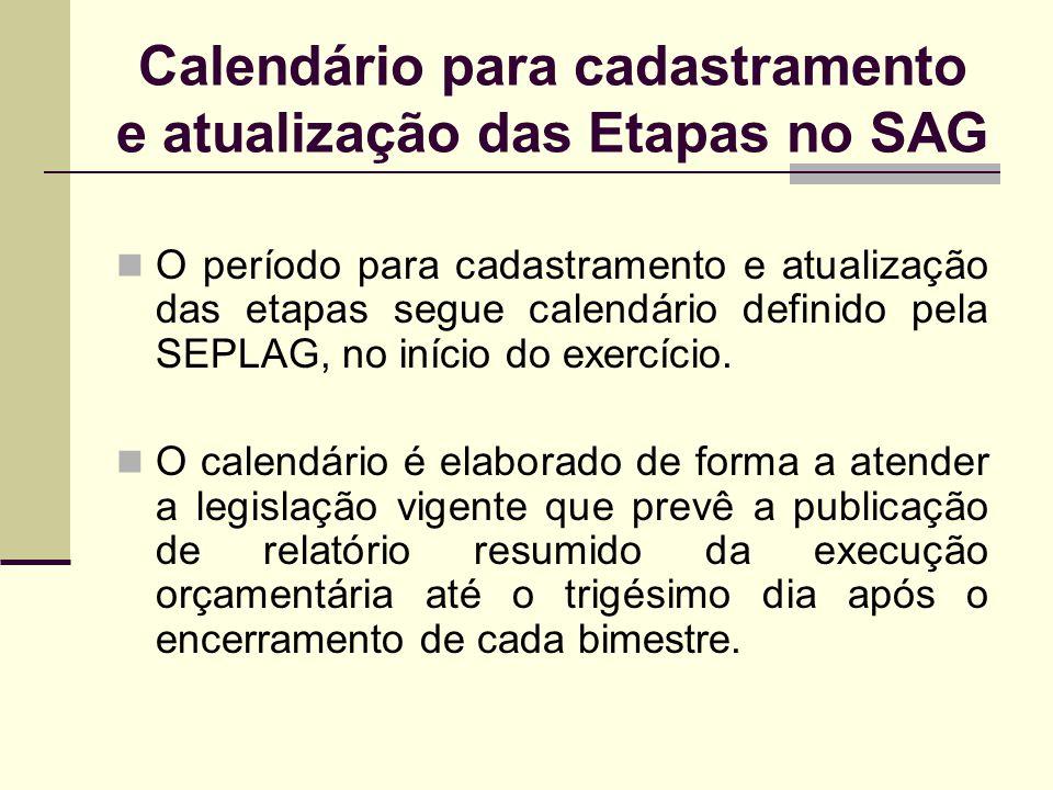 Calendário para cadastramento e atualização das Etapas no SAG