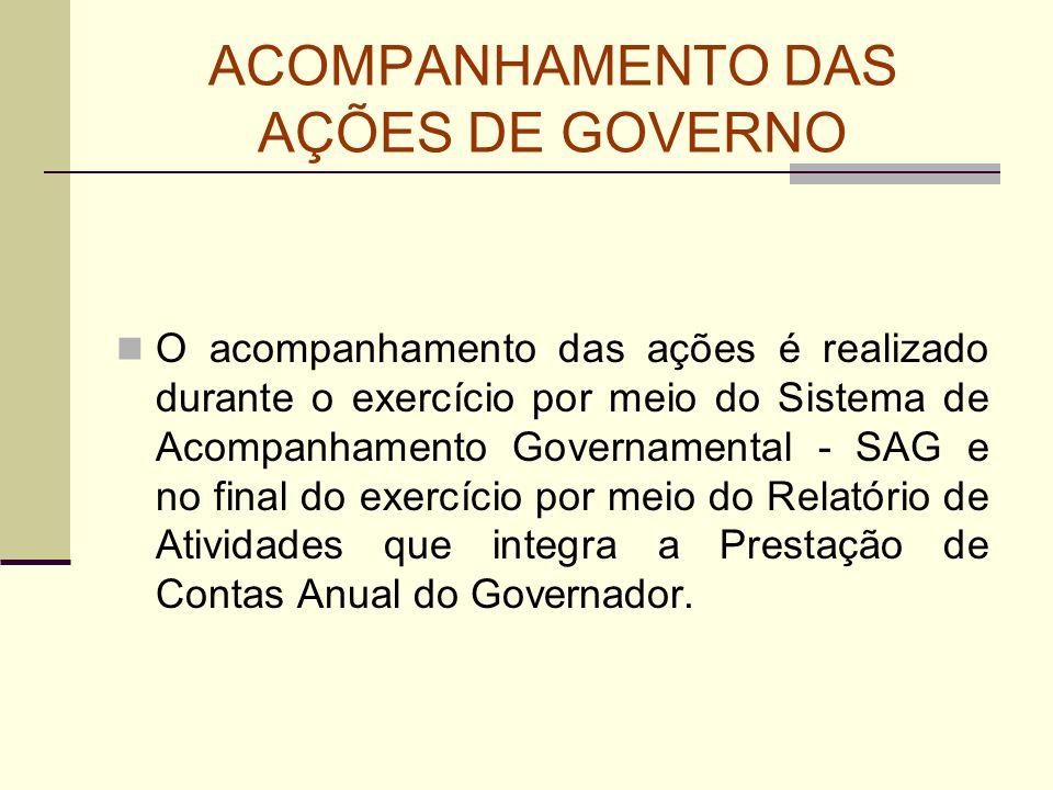 ACOMPANHAMENTO DAS AÇÕES DE GOVERNO