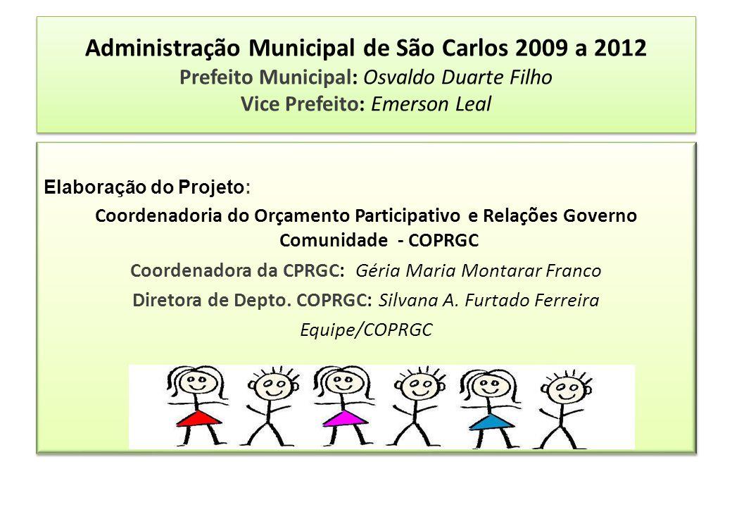 Administração Municipal de São Carlos 2009 a 2012 Prefeito Municipal: Osvaldo Duarte Filho Vice Prefeito: Emerson Leal