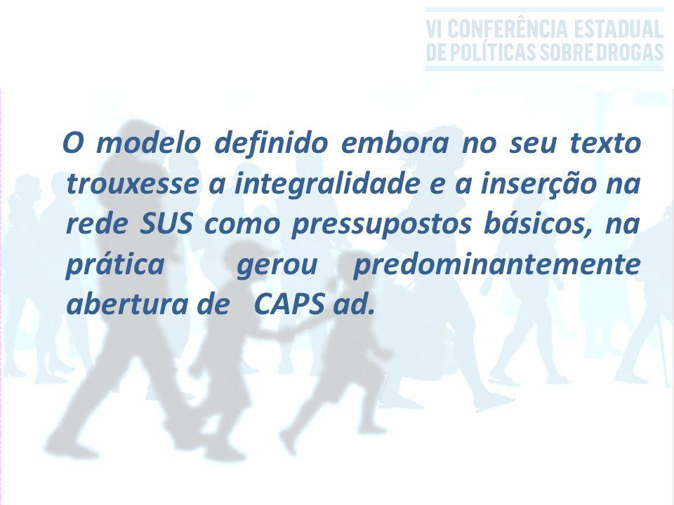 O modelo definido embora no seu texto trouxesse a integralidade e a inserção na rede SUS como pressupostos básicos, na prática gerou predominantemente abertura de CAPS ad.