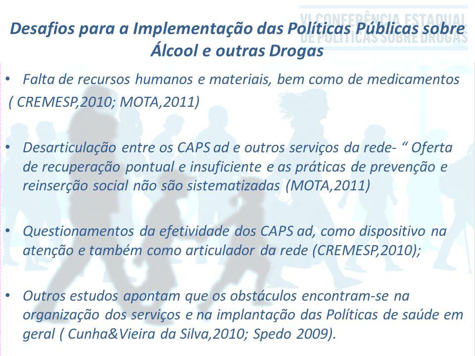 Desafios para a Implementação das Políticas Públicas sobre Álcool e outras Drogas