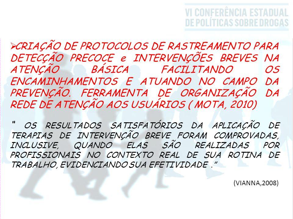 CRIAÇÃO DE PROTOCOLOS DE RASTREAMENTO PARA DETECÇÃO PRECOCE e INTERVENÇÕES BREVES NA ATENÇÃO BÁSICA FACILITANDO OS ENCAMINHAMENTOS E ATUANDO NO CAMPO DA PREVENÇÃO. FERRAMENTA DE ORGANIZAÇÃO DA REDE DE ATENÇÃO AOS USUÁRIOS ( MOTA, 2010)