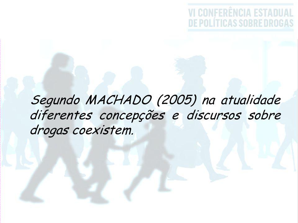 Segundo MACHADO (2005) na atualidade diferentes concepções e discursos sobre drogas coexistem.