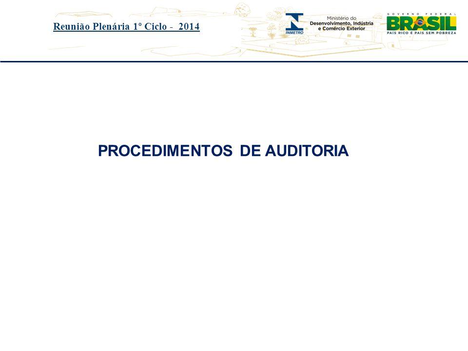 Reunião Plenária 1º Ciclo - 2014 PROCEDIMENTOS DE AUDITORIA