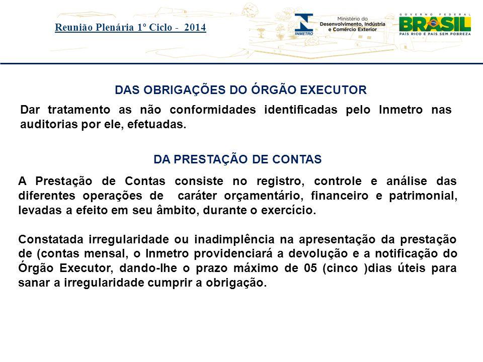 Reunião Plenária 1º Ciclo - 2014 DAS OBRIGAÇÕES DO ÓRGÃO EXECUTOR