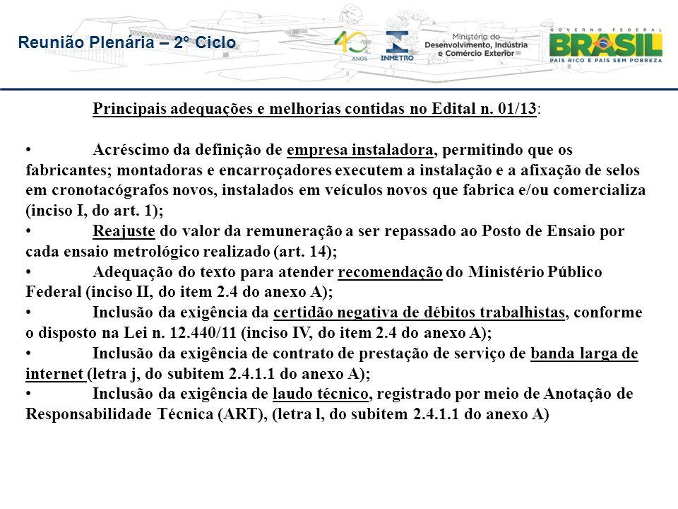 Principais adequações e melhorias contidas no Edital n. 01/13: