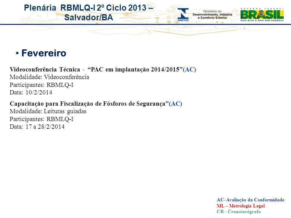 Fevereiro Videoconferência Técnica - PAC em implantação 2014/2015 (AC) Modalidade: Videoconferência.