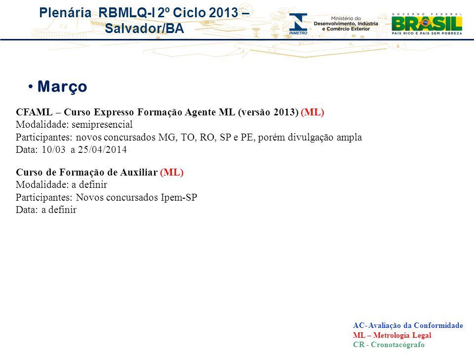 Março CFAML – Curso Expresso Formação Agente ML (versão 2013) (ML)