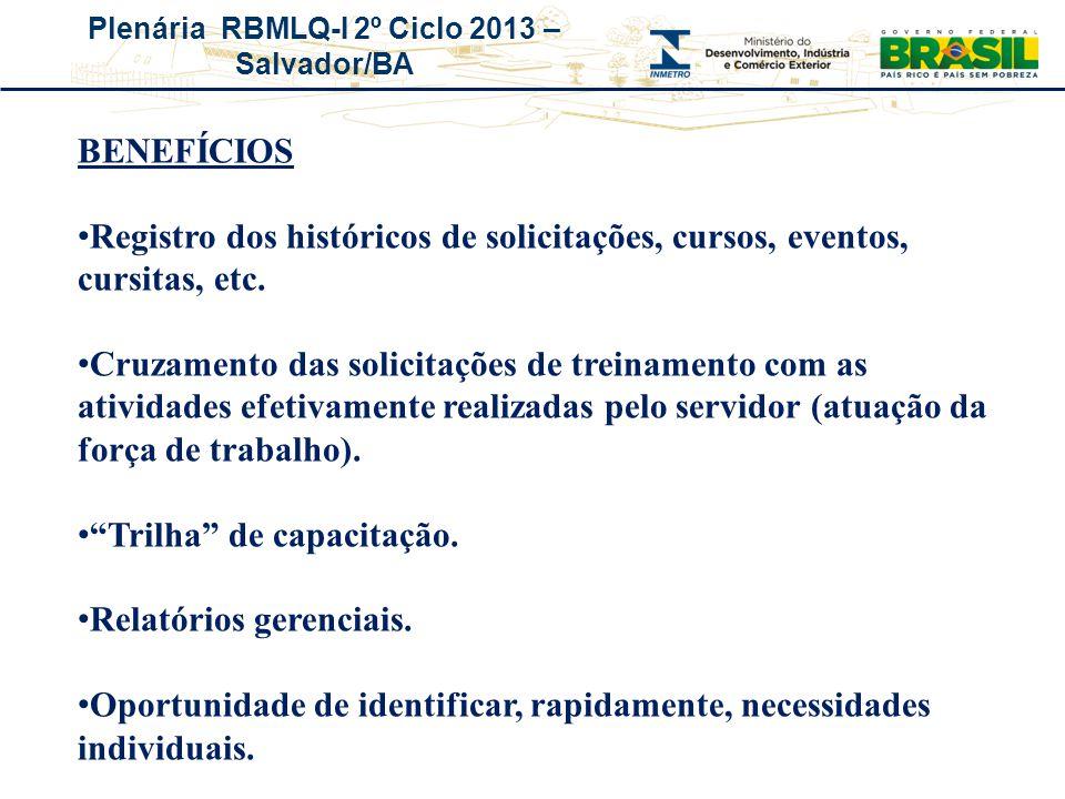 BENEFÍCIOS Registro dos históricos de solicitações, cursos, eventos, cursitas, etc.