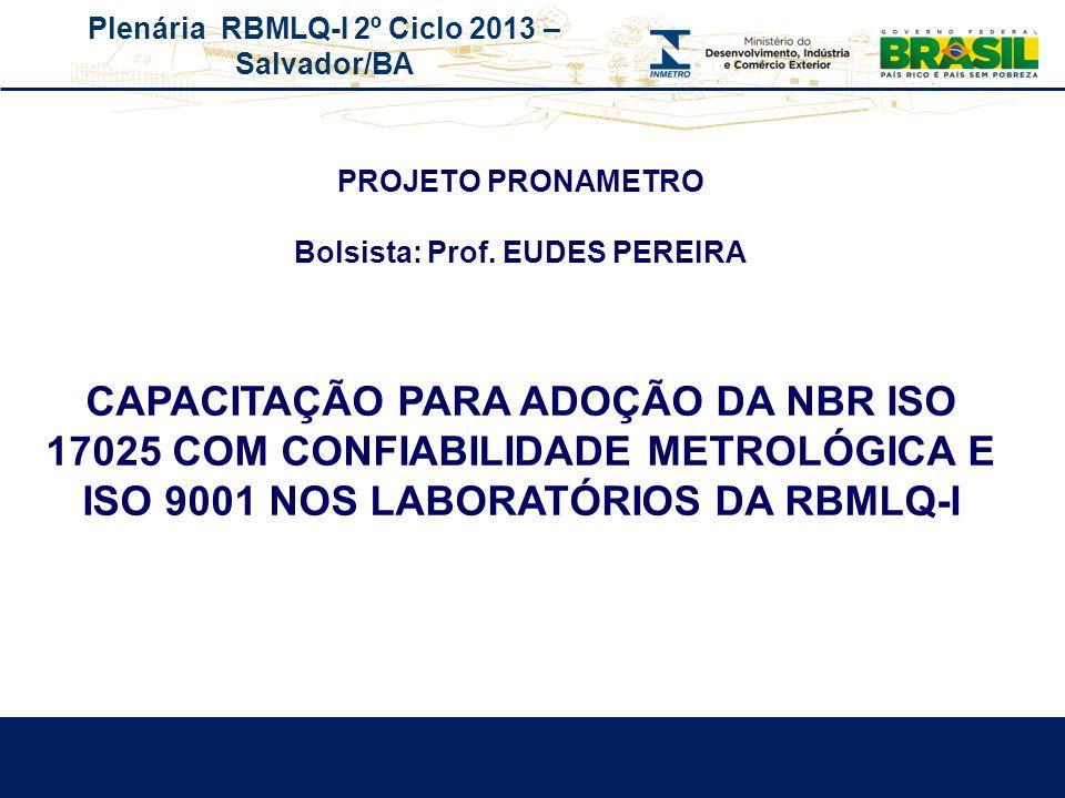 PROJETO PRONAMETRO Bolsista: Prof. EUDES PEREIRA.