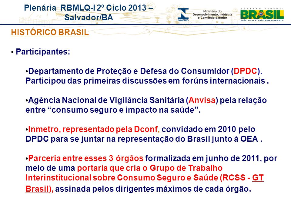 HISTÓRICO BRASIL Participantes: